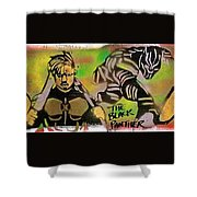 Back Panther Street Art #2 Shower Curtain