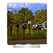 Back Road Mailboxes Shower Curtain