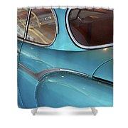 Back Side Of A Blue Vintage Car  Shower Curtain