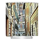 Back Street Lamp Shower Curtain