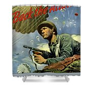 Back The Attack Buy War Bonds Shower Curtain