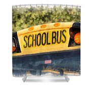 Back To School Bus Watercolor Shower Curtain