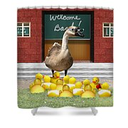 Back To School Little Duckies Shower Curtain