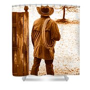 Back To Work - Sepia Shower Curtain