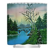Back Woods Bridge Shower Curtain