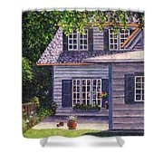 Back Yard With Flower Pots Shower Curtain