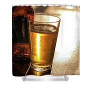 Backlit Glass Of Beer And Empty Bottle On Table Shower Curtain