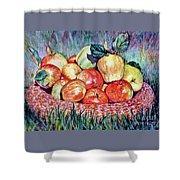 Backyard Apples Shower Curtain