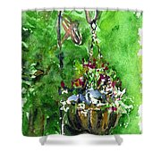 Backyard Hanging Plant Shower Curtain
