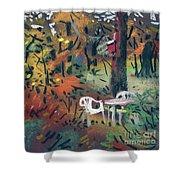 Backyard In Autumn Shower Curtain