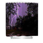 Backyard Lightning Shower Curtain