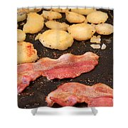 Bacon And Potatoes On A Griddle Shower Curtain