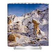 Badlands Hoodoo In The Snow Shower Curtain