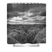 Badlands White River Valley Bw Shower Curtain