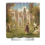 Badminton Players Shower Curtain by Johan Friedrich Hennings