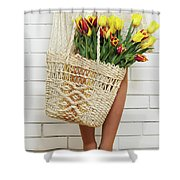 Bag With A Bouquet Of Tulips Shower Curtain