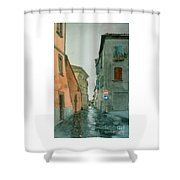 Bagnoregio Street In The Rain Shower Curtain