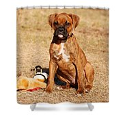 Bailey The Boxer Puppy Shower Curtain