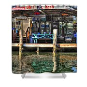 Bait Ice  Beer Shop On Bay Shower Curtain by Dan Friend