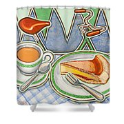 Bakewell Pudding And Cup Of Tea At Eroica Britannia  Shower Curtain