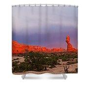 Balance Rock At Sunset, Arches National Park, Utah Usa Shower Curtain