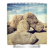 Balanced Boulders In Joshua Tree National Park Shower Curtain by Bryan Mullennix