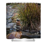 Balancing Zen Stones In Countryside River V Shower Curtain