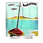 Balaton Lake, Hungary, Fishing Boat On The Coast Shower Curtain