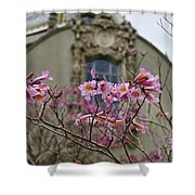 Balboa Park Building And Spring Flowers - San Diego Shower Curtain