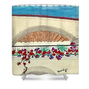 Balcony In Hilltop Village Of Vejer Spain Shower Curtain
