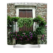 Balcony On Pebbled Wall Shower Curtain