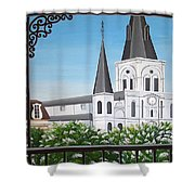 Balcony View Of St Louis Cathedral Shower Curtain