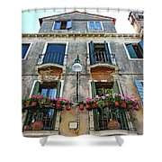 Balcony With Flowers In Venice, Italy Shower Curtain