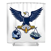 Bald Eagle Hold Scales Earth Money Retro Shower Curtain