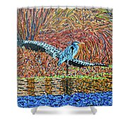 Bald Head Island, Gator, Blue Heron Shower Curtain