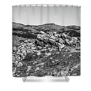 Bald Mountain Rock Formation In Black And White Shower Curtain