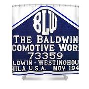 Baldwin Diesel Builders Plate Shower Curtain