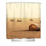 Bales In The Fog Shower Curtain