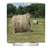 Bales Of Hay In New England Field Shower Curtain