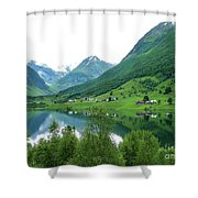 Balestrand Lake Village Shower Curtain