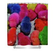 Bali Coloured Chicks Close-up Shower Curtain