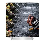 Bali Temple Fountain Cleansing Shower Curtain