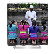Bali Temple Women Blessing Shower Curtain