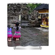 Bali Temple Women Bowing Panoramic Shower Curtain