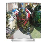 Bali Wooden Eggs Artwork Shower Curtain