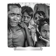 Balinese Gothic Bw Shower Curtain