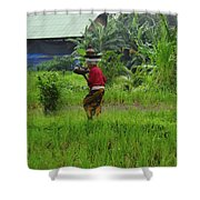 Balinese Lady Carrying Pot Shower Curtain