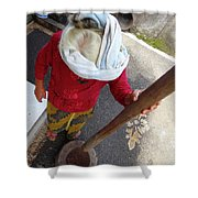 Balinese Lady Grinding Coffee Shower Curtain