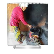 Balinese Lady Roasting Coffee Over The Fire Shower Curtain