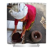 Balinese Lady Sifting Coffee Shower Curtain